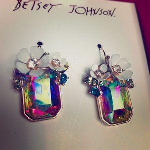Betsey-Johnson rectangle flowers earrings